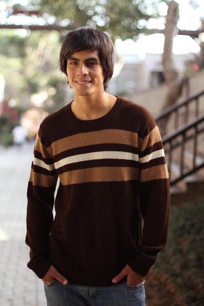100% alpaca men's sweater, 'Andean Voyage' - Handcrafted Men's Alpaca Wool Striped Pullover Sweater