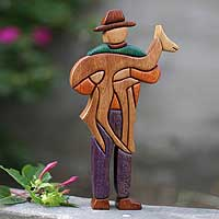 Cedar and mahogany sculpture,