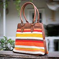 Leather and wool shoulder bag Stripes Peru