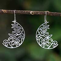 Silver flower earrings, 'Crescent Moon Bouquet' - Handmade Moon Fine Silver Dangle Earrings
