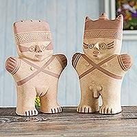 Ceramic sculptures, 'Cuchimilco Protection' (pair) - Peruvian Chancay Ceramic Sculpture Replicas