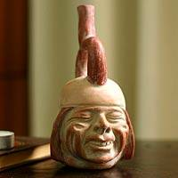 Ceramic sculpture, 'Joyful Smile' - Archaeological Museum Replica Ceramic Sculpture