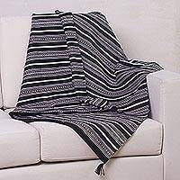 Alpaca throw, 'Night Leopard' - Collectible Alpaca Wool Blend Striped Blanket and Throw