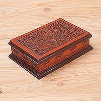 Cedar and leather jewelry box, 'Colonial Garden' - Wood and Tooled Leather Jewelry Box