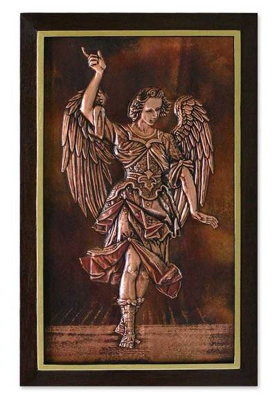 Copper panel, 'Angelic Messenger' - Angel Copper Relief Wall Panel