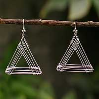 Silver dangle earrings, 'Triangle Quintet' - Silver dangle earrings