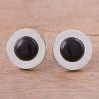 Obsidian clip on earrings,