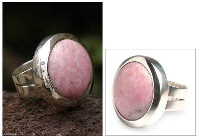 silver and diamond necklace - Rhodonite cocktail ring