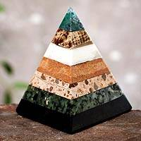 Gemstone pyramid, 'Empowered' - Pyramid of Stacked Gemstones