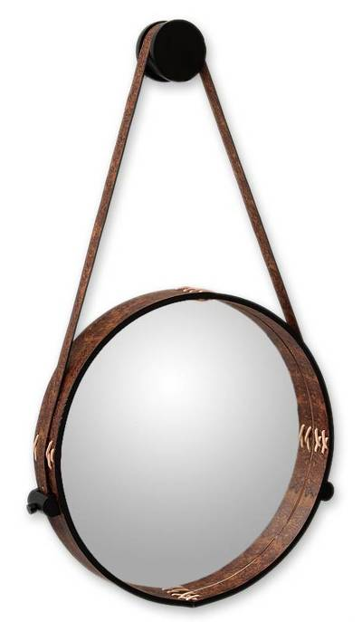 Leather mirror, 'New Moon' - Contemporary Rustic Leather Wall Mirror
