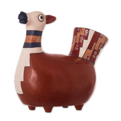 Ceramic sculpture, 'Little Llama' - Handcrafted Ceramic Inca Replica Sculpture