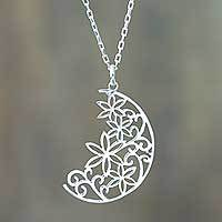 Silver pendant necklace, 'Crescent Moon Bouquet' - .950 Silver Moon Pendant Necklace from Peru