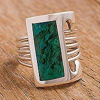 Chrysocolla cocktail ring, 'Imagination' - Fine Silver Sterling Silver Green Cocktail Ring