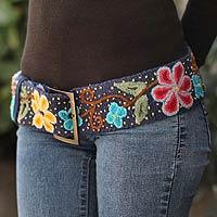 Wool belt, 'Midnight Blue Bouquet' - Wool Belt Embellished With Multicolored Flowers