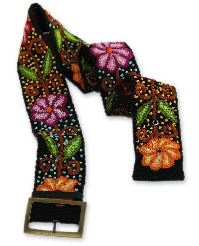 Unique Floral Wool Embroidered Belt from Peru