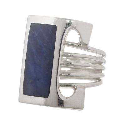 Modern Fine Silver and Sodalite Ring