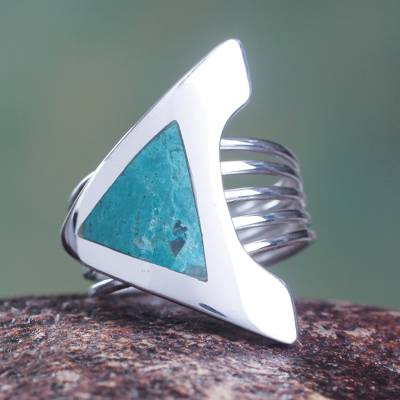 om ring silver emerald lake - Chrysocolla and Fine Silver Cocktail Ring