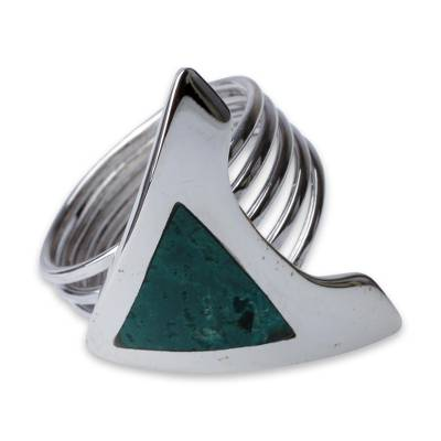 Chrysocolla and Fine Silver Cocktail Ring
