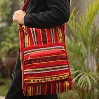 Wool shoulder bag, 'Scarlet Light' - Red Striped Wool Shoulder Bag
