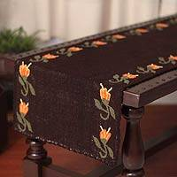 Wool table runner, 'Tulip Chains' - Handcrafted Floral Wool Table Runner