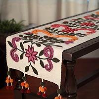 Wool table runner, 'Floral Totem' - Wool table runner