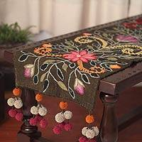 Wool table runner, 'Peruvian Bouquet' - Hand Embroidered Floral Wool Table Runner