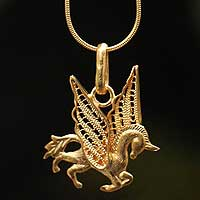 Gold plated filigree necklace, 'Pegasus' - Handcrafted Gold Plated Filigree Necklace