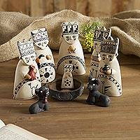 Ceramic nativity scene, 'Born to the Amazons' - Christmas Ceramic Nativity Scene from Peru