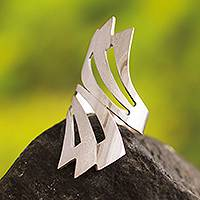 Silver wrap ring, 'Inca Rainbow' - Hand Made Modern Fine Silver Wrap Ring from Peru
