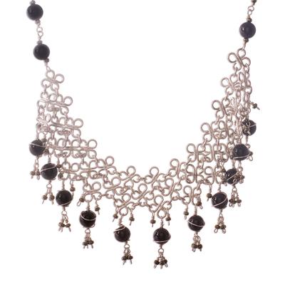 Fine Silver Onyx Waterfall Necklace