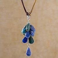 Featured review for Sodalite and chrysocolla pendant necklace, Andean Raceme