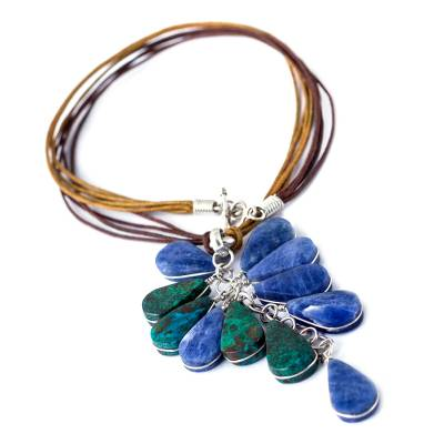 Sodalite and chrysocolla pendant necklace, 'Andean Raceme' - Sodalite and chrysocolla pendant necklace