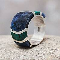 Sodalite and chrysocolla band ring, 'Moche Princess' - Fine Silver Gemstone Ring