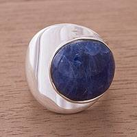 Sodalite dome ring, 'World of Blue' - Unique Modern Sodalite Ring