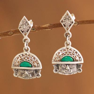 Chrysocolla dangle earrings, 'Inca Priest' - Chrysocolla dangle earrings