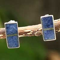 Sodalite button earrings, 'Blue Windows' - Peruvian Jewelry Silver And Sodalite Button Earrings