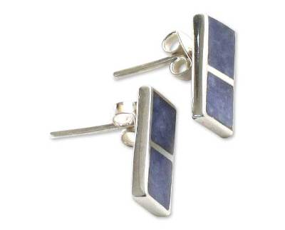 Peruvian Jewelry Silver And Sodalite Button Earrings