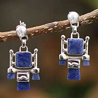 Sodalite chandelier earrings, 'Inca Damsel' - Sodalite chandelier earrings