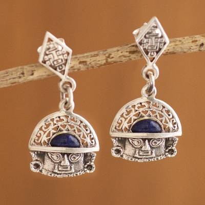 Sodalite dangle earrings, 'Inca Priest' - Sodalite dangle earrings