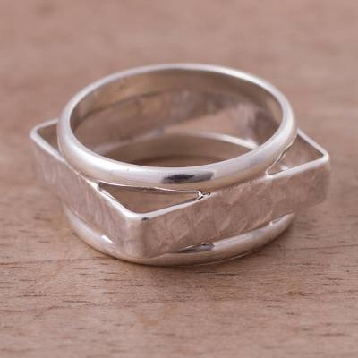 gold sterling silver necklace - Silver band ring
