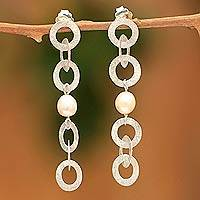 Pearl dangle earrings, 'Circles in Starlight' - Artisan Crafted Modern Fine Silver Dangle Pearl Earrings