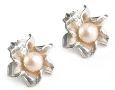 Floral Fine Silver and Pearl Earrings from Peru