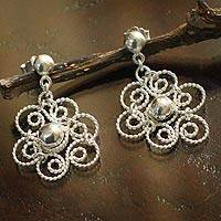 Silver flower earrings, 'Princess Lace' - Silver flower earrings