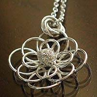 Silver flower necklace, 'Petals of Light' - Silver flower necklace