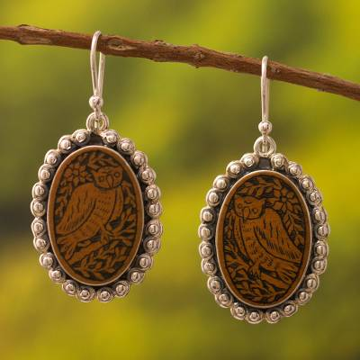 Sterling silver and mate gourd dangle earrings, Nocturnal Sage