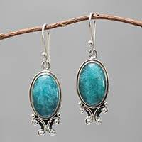 Amazonite dangle earrings, 'Andean Mystique' - Handcrafted Sterling Silver Dangle Amazonite Earrings