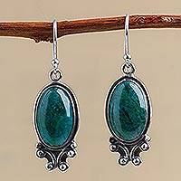 Chrysocolla dangle earrings, 'Andean Mystique' - Unique Sterling Silver Dangle Chrysocolla Earrings