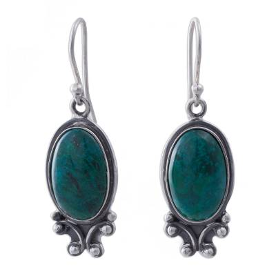 Unique Sterling Silver Dangle Chrysocolla Earrings