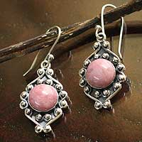 Rhodonite flower earrings, 'Andean Rose' - Rhodonite flower earrings