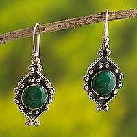 Chrysocolla flower earrings, 'Andean Rose' - Sterling Silver and Chrysocolla Dangle Earrings